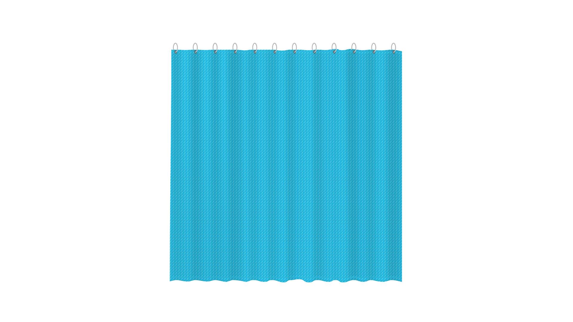 3D штора для ванной синяя