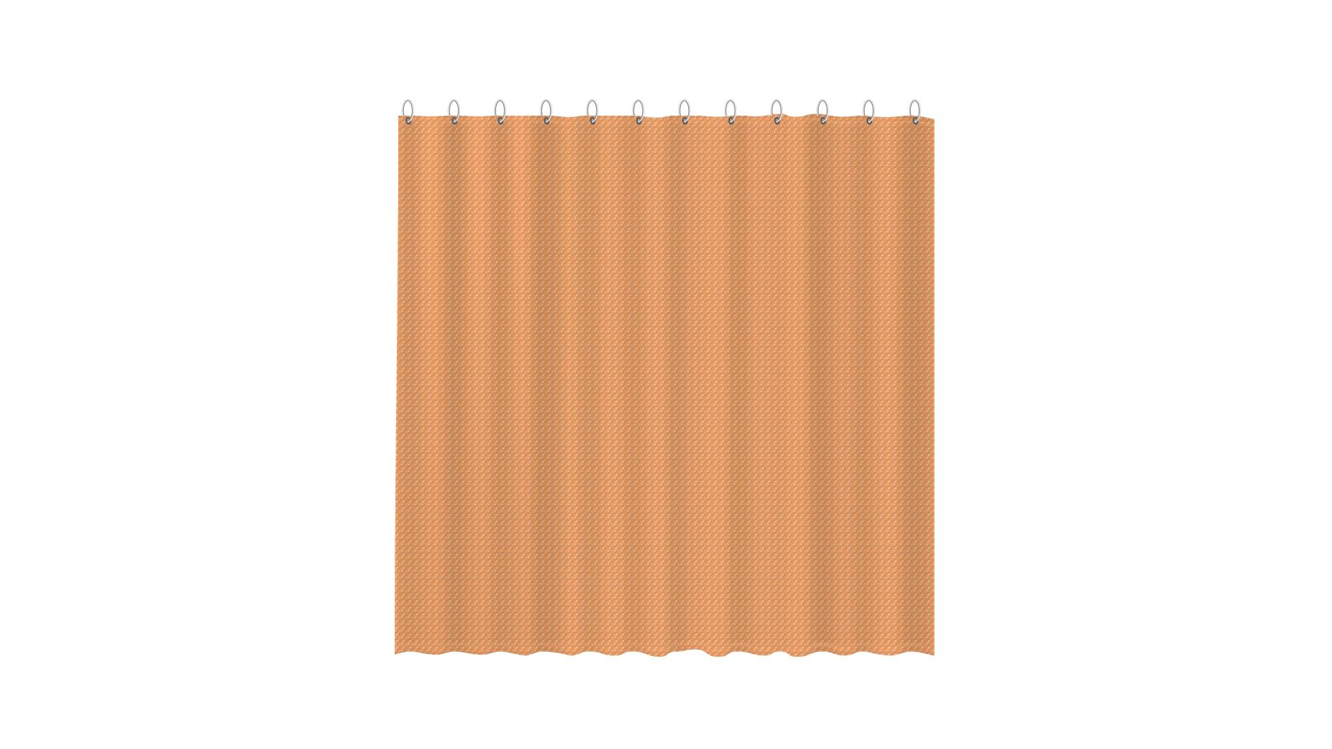 3D штора для ванной оранжевая